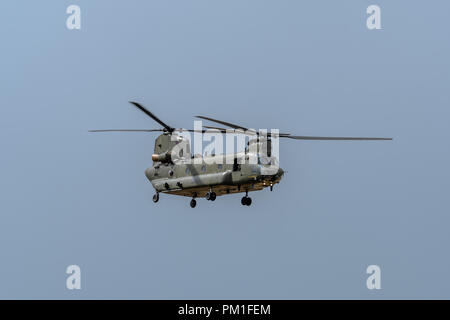 FAIRFORD, UK, JULY 13 2018: A photograph documenting the Royal Air Force displaying a Boeing Chinook twin rotor helicopter aircraft at RAF Fairford - Stock Photo