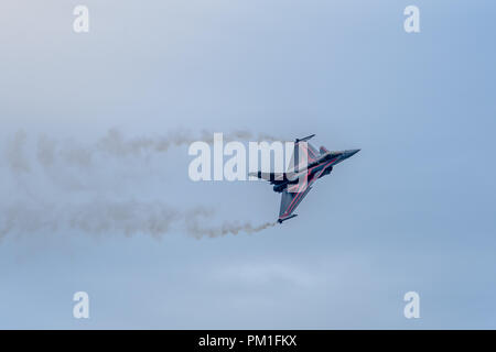 FAIRFORD, UK, JULY 13 2018: A photograph documenting a solo Armee De L'air Dassault Rafale jet aircraft displaying at RAF Fairford as part of the Roya - Stock Photo