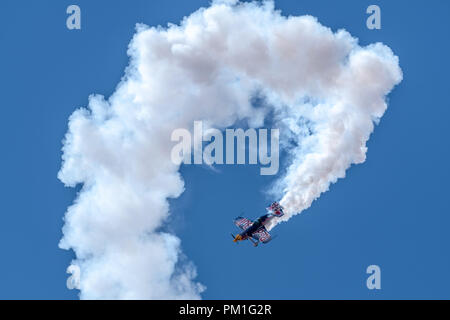 SOUTHPORT, UK JULY 8 2018:  A photograph documenting The Red Bull Matadors Display Team performing at the annual Southport Airshow - Stock Photo