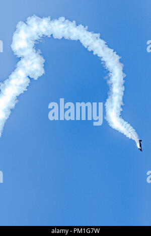 SOUTHPORT, UK JULY 8 2018:  A photograph documenting The Blades Aerobatic Display Team performing at the annual Southport Airshow - Stock Photo