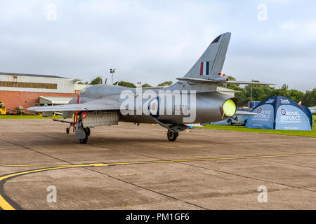 COSFORD, UK, JUNE 6 2018: A photograph documenting a Hawker Siddley Hunter T7 as it stands at RAF Cosford - Stock Photo