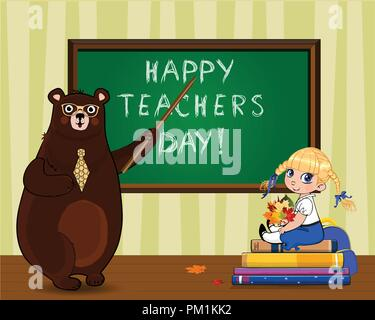 Happy teachers day vector illustration of cartoon bear teacher in glasses and tie holding pointer near blackboard and school girl with leaves bouquet  - Stock Photo