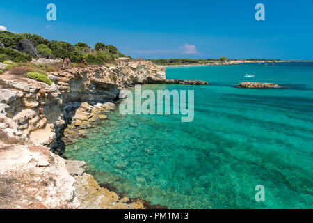 Rocky coastline in the Gelsomineto area, near Siracusa - Stock Photo