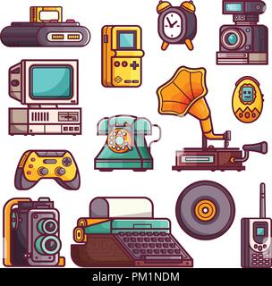 Retro and Vintage Tech Gadgets Icons - Stock Photo