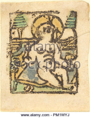 Christ Child with Bird. Dated: 1480. Medium: woodcut in brown, hand-colored in blue, yellow, and green. Museum: National Gallery of Art, Washington DC. Author: German 15th Century. - Stock Photo