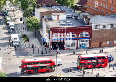 London England Great Britain United Kingdom South Bank Lambeth North Underground Station subway tube public transportation front entrance street traff - Stock Photo