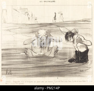 Attention, Gargouillet, v'la le bourgeois qui passe... Dated: 1842. Medium: lithograph on newsprint. Museum: National Gallery of Art, Washington DC. Author: HONORÉ DAUMIER. - Stock Photo