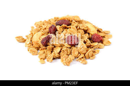 Oat Granola with dried raspberries breakfast cereal isolated on white background - Stock Photo