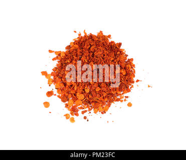 dried red pepper flakes isolated on white - Stock Photo