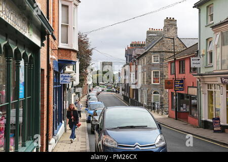 Priory Street and St Mary's Church, Cardigan, Cardigan Bay, Ceredigion, Wales, Great Britain, United Kingdom, UK, Europe - Stock Photo