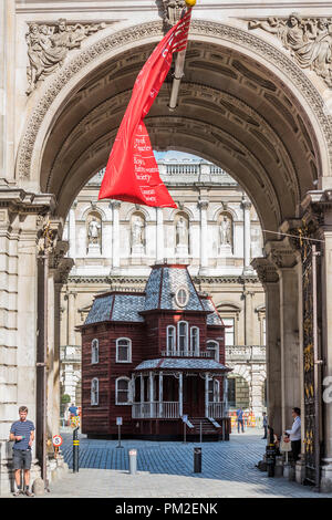 London, UK. 17th Sep 2018. Cornelia Parker's Transitional Object (Psychobarn) at the Royal Academy of Arts. Standing at nearly 30 feet (10m), it is made from the components of a dismantled traditional American red barn and is based on the house seen in Alfred Hitchcock's film Psycho (1960), which in turn was modelled on a painting by the American painter Edward Hopper, House by the Railroad, 1925. Credit: Guy Bell/Alamy Live News - Stock Photo