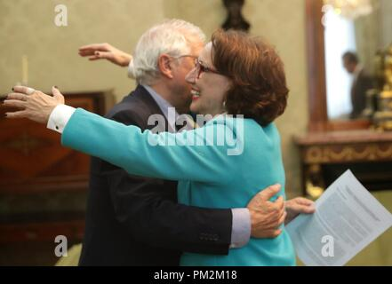 Madrid spain 17th sep 2018 spanish foreign minister jose borrell spanish foreign minister jose borrell l and secretary general of the ibero american conference segib costa rican rebeca grynspan r during their m4hsunfo