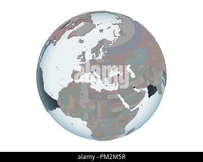 Kosovo on political globe with embedded flag. 3D illustration isolated on white background. - Stock Photo