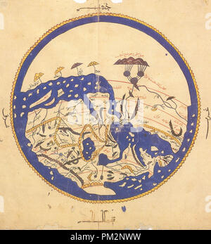 Al-Idrisi's world map from 'Alî ibn Hasan al-Hûfî al-Qâsimî's 1456 copy. According to the French National Library, 'Ten copies of the Kitab Rujar or Tabula Rogeriana exist worldwide today. Of these ten, six contain at the start of the work a circular map of the world which is not mentioned in the text of al-Idris'. The original text dates to 1154. Note that south is at the top of the map. - Stock Photo