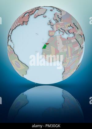 Western Sahara with national flag on globe reflecting on shiny surface. 3D illustration. - Stock Photo