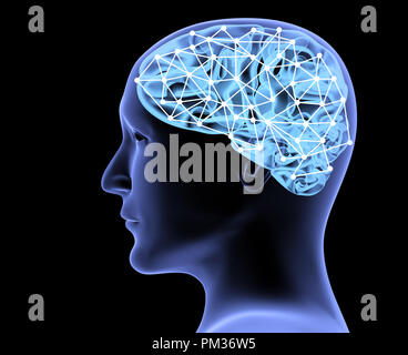 Transparent head of man and neural network of brain. Isolated on black background. 3d render - Stock Photo