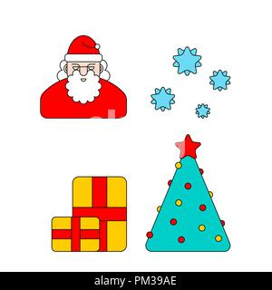 Christmas Linear icon set. Santa and Christmas tree and box. New Year Vector Illustration - Stock Photo