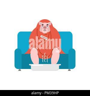 Pig sick sitting in armchair wrapped in blanket. swine illness sneezing. Farm animal Unhappy having flu sitting on sofa. vector illustration - Stock Photo