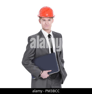 in full growth.young engineer architect with laptop - Stock Photo
