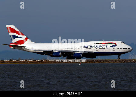 Boeing 747-436 (G-CIVG) operated by British Airways taxiing, San Francisco International Airport (KSFO), San Francisco, California, United States of America - Stock Photo