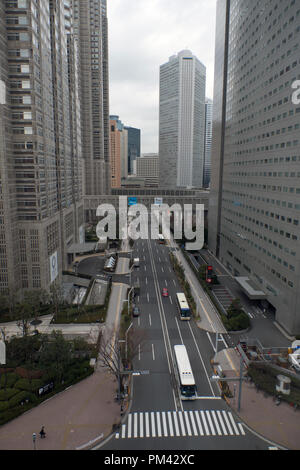Shinjuku business and financial district in Tokyo, Japan, Asia. Modern office buildings and skyscrapers in Asian city and Japanese urban landscape - Stock Photo