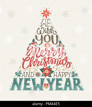 Christmas Tree Lettering - Stock Photo