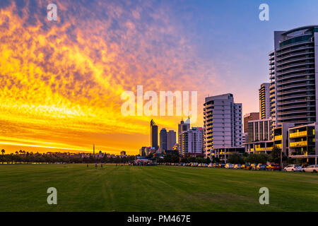 A spectacular sunset in Perth, Australia - Stock Photo