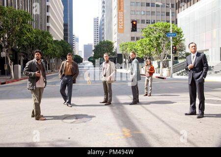 "(L-r) DILEEP RAO as Yusuf, TOM HARDY as Eames, JOSEPH GORDON-LEVITT as Arthur, LEONARDO DiCAPRIO as Cobb, ELLEN PAGE as Ariadne, and KEN WATANABE as Saito in Warner Bros. Pictures' and Legendary Pictures' sci-fi action film ""INCEPTION,"" a Warner Bros. Pictures release. - Stock Photo"