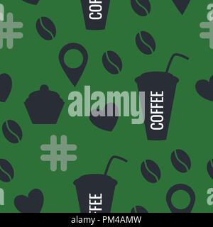 Seamless pattern of coffee. Vector illustration of stickers isolated on a green background. - Stock Photo