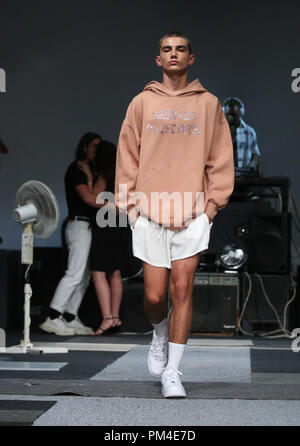 Models on the catwalk during the Ashish London Fashion Week September 2018 show at BFC Space in London. PRESS ASSOCIATION. Picture date: Sunday September 16, 2018. Photo credit should read: Isabel Infantes/PA Wire - Stock Photo