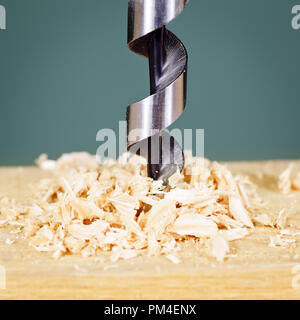 Wood drill bit with shaving - Stock Photo