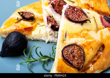 Autumn cake, Italian focaccia with cottage cheese, figs and rosemary - Stock Photo