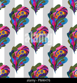 Watercolor paisley hand painted seamless pattern. Abstract leaves background. Folklore nature texture for surface design, textile, wrapping paper, wal - Stock Photo