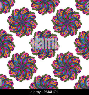 Watercolor colorful mandala seamless pattern. Hand painted abstract background. - Stock Photo