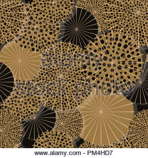 dotted umbrellas from above seamless pattern in gold shades - Stock Photo