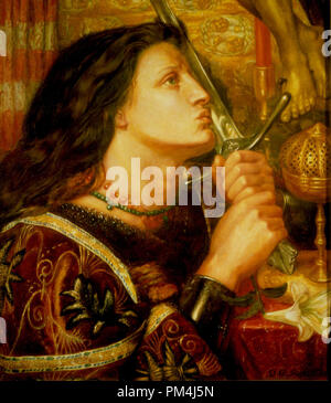Joan of Arc (circa 1412-1431) Kissing the Sword of Liberation - posthumous  painting by Dante Gabriel Rossetti, 1863. Painting current location Strasbourg Museum of Modern and Contemporary Art, Strasbourg, France   File Reference # 1003_539THA - Stock Photo