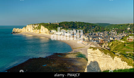 Panorama of Etretat, a tourist town in Normandy, France - Stock Photo