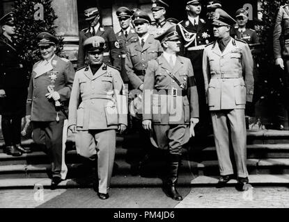 Benito Mussolini, Rudolf Hess, Adolf Hitler and others outside the Führerbau building in München, Germany, 1938   File Reference # 1003_676THA - Stock Photo