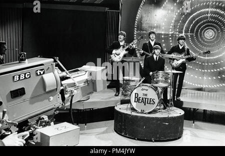 The Beatle's (John Lennon, Paul McCartney, George Harrison and Ringo Starr)live appearance on BBC Television's ' Top of the Pops'1966. File Reference #1013 112 THA © JRC /The Hollywood Archive - All Rights Reserved. - Stock Photo