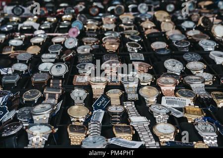 London, UK - July 21, 2018: Selection of watches on sale at Portobello Road Market, Notting Hill, London. Portobello Road is the world's largest antiq - Stock Photo