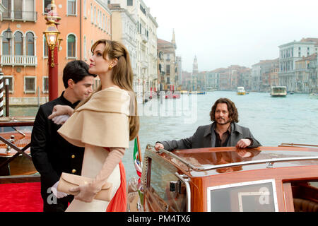Angelina Jolie as 'Elise' and Johnny Depp as 'Frank' in THE TOURIST, 2010. - Stock Photo