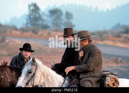 Film Still from 'Unforgiven' Jaimz Woolvett, Morgan Freeman, Clint Eastwood © 1992 Warner Brothers - Stock Photo