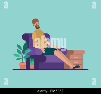 young man relaxing on the livingroom - Stock Photo