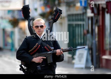 'Hot Fuzz'  Simon Pegg © 2007 Rogue Pictures - Stock Photo