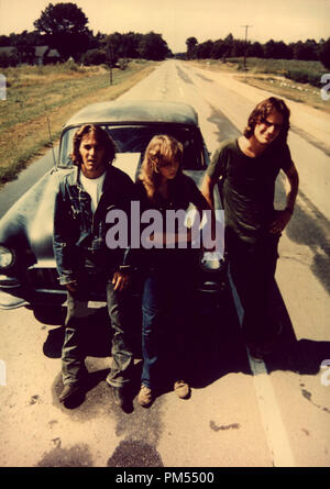 James Taylor, Laurie Bird, and Dennis Wilson in 'Two-Lane Blacktop' 1971 - Stock Photo