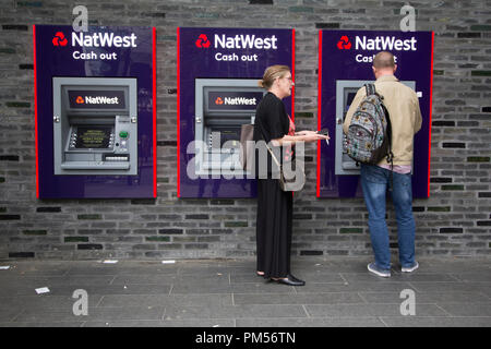 natwest bank atm, cashpoint cashtill, hole in the wall London - Stock Photo