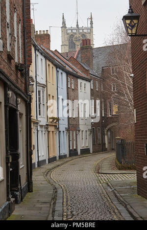 Prince Street, Kingston upon Hull, Humberside, East Riding of Yorkshire, & Holy Trinity Church (Minster) clocktower, UK. - Stock Photo