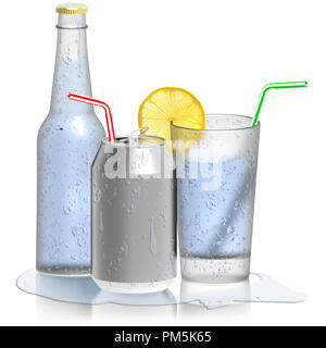 3D illustration. Tonic Water, glass bottle cans. Freshener isolated on white background. - Stock Photo
