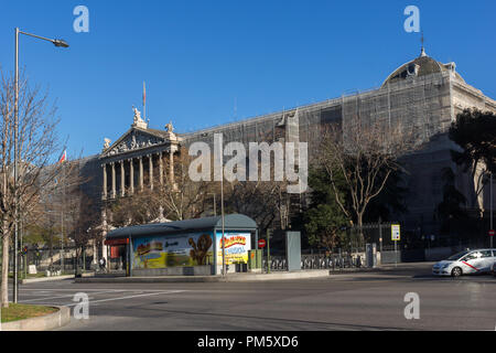 MADRID, SPAIN - JANUARY 21, 2018: National Archaeological Museum and National Library in City of Madrid, Spain - Stock Photo
