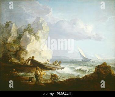 Seashore with Fishermen. Dated: c. 1781/1782. Dimensions: overall: 101.9 x 127.6 cm (40 1/8 x 50 1/4 in.)  framed: 124.5 x 149.9 x 7 cm (49 x 59 x 2 3/4 in.). Medium: oil on canvas. Museum: National Gallery of Art, Washington DC. Author: Thomas Gainsborough. - Stock Photo